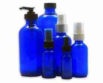 Blue Plastic Bottle w/ Pump Top